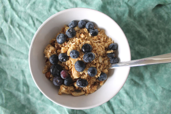 Homemade Granola Blueberries