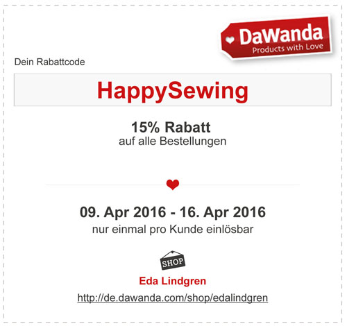 coupon_HappySewing Rabattcode DaWanda