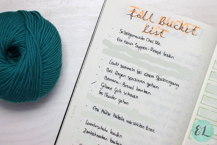 Fall Bucket List Stricken lernen